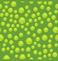 seamless pattern with tennis balls green vector image