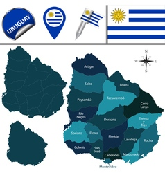 Uruguay map with named divisions vector image vector image