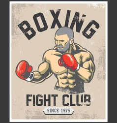 vintage boxing poster vector image vector image