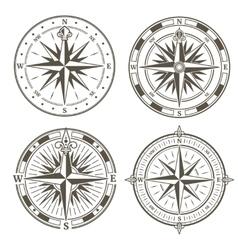 Vintage nautical compass signs set retro vector