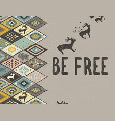 be free ethnic print with deers buffalo and vector image