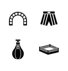 Boxing ring simple related icons vector