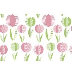 decorative tulip flower seamless pattern geometric vector image vector image