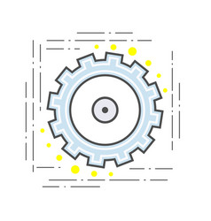 gear pinion flat line modern icon sign vector image