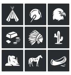 Indians Wild West icons set vector image