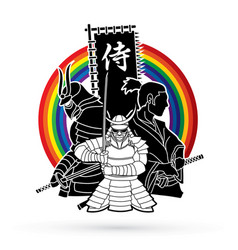 3 samurai composition with flag vector