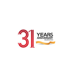 31 years anniversary template with red color vector
