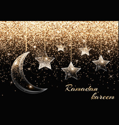 A crescent moon and stars vector