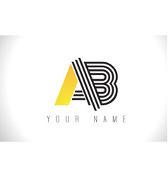 Ab black lines letter logo creative line letters vector