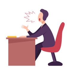 Angry male boss or office worker character sitting vector