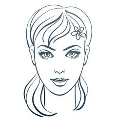 Beautiful woman portrait linear vector
