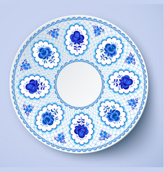 Blue ornamental plate in traditional style vector image