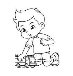 boy playing with his truck toy bw vector image
