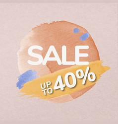 Brush sale sticker orange watercolor shopping vector