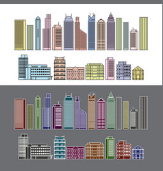 Buildings and skyscrapers object line colour set vector