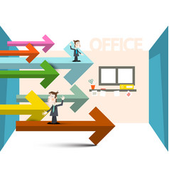 Businessmen with arrows in office room business vector