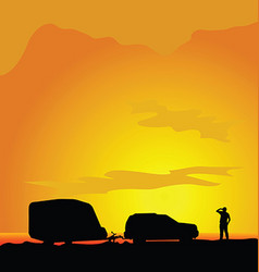 Camping in landscape man silhouette vector