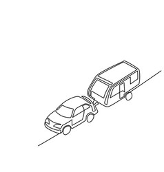 Caravan with automobile for vacation traveling vector