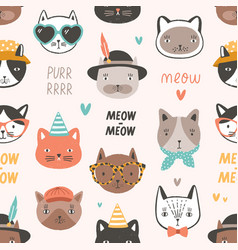 childish seamless pattern with adorable cat faces vector image