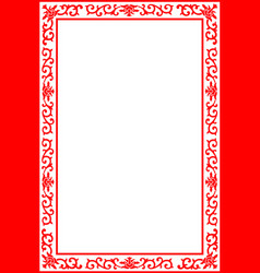 chinese royal floral border frame red on white vector image