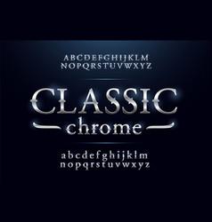 Classic alphabet silver metallic and effect vector