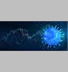 collapse market due to coronavirus vector image