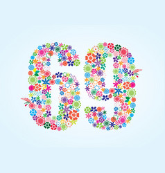 Colorful floral 69 number design isolated on vector