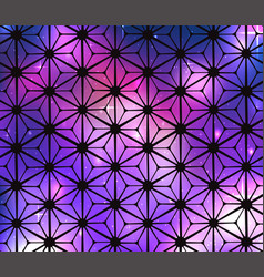 cosmic stained glass background with flowers vector image