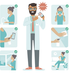 Covid-19 virus protection tips doctor character vector