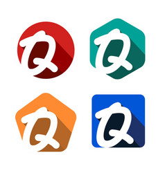 creative handwritten white letter q inscribed in a vector image