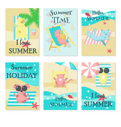 cute animals taking rest on beach card set vector image