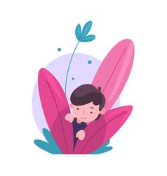 Cute little boy hiding in bushes adorable kid vector