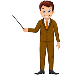 Cute teacher cartoon holding a pointer vector