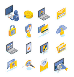 cyber security isometric icons set vector image