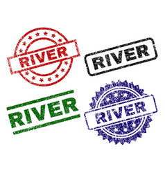 Damaged textured river seal stamps vector