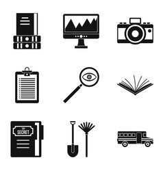 Data search icons set simple style vector