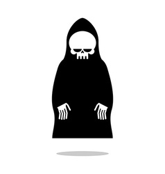 Death cloak hovers above ground Grim Reaper in vector