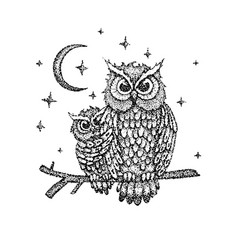 Dotwork night owls vector