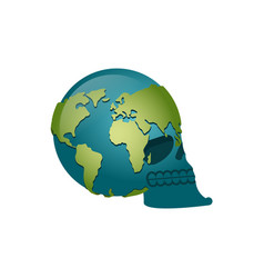 earth skull head of skeleton is planet continents vector image