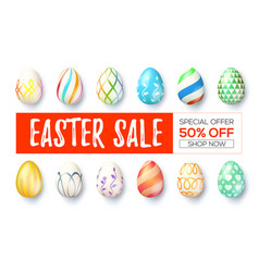 easter sale ad banner with design of handwritten vector image