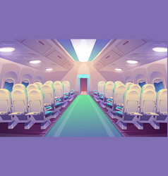 Empty airplane interior with chairs plane salon vector