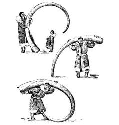 Eskimo with mammoth horn bones prehistoric vector