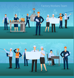 Factory workers team banners set vector