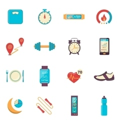 Fitness Tracker Flat Color Icons vector