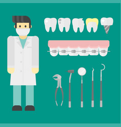 flat health care dentist symbols research medical vector image