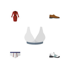 Flat icon dress set of sneakers underclothes vector