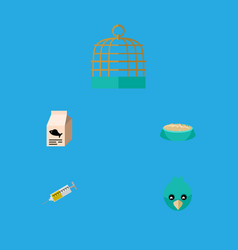 Flat icon pets set of sparrow bird prison vector
