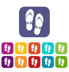 Flip flop sandals icons set vector
