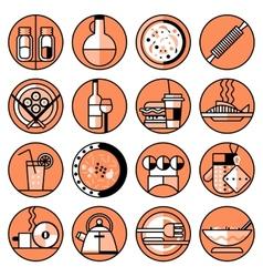Food icons line set vector image