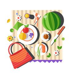 Food on blanket summer picnic vegetables vector